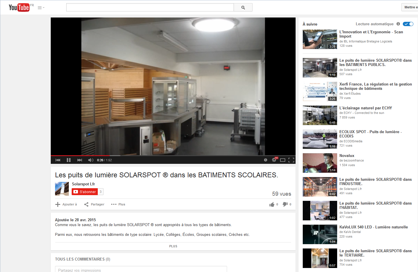vid o de puits de lumi re solarspot pour coles. Black Bedroom Furniture Sets. Home Design Ideas